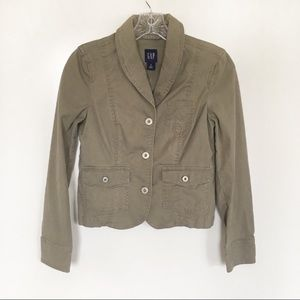 Gap utility jacket army green pockets buttons